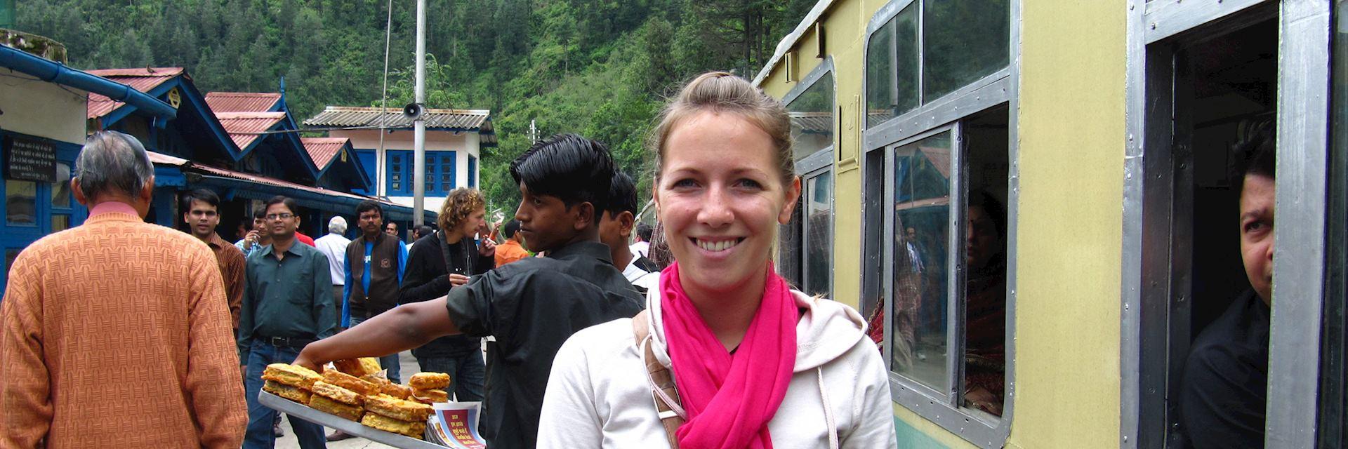 Carol taking the Toy train from Shimla, India