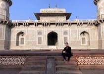 George at the Tomb of I'timad-ud-Daulah (Baby Taj), Agra