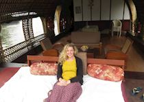 Hannah on a rice barge in Kerala, India
