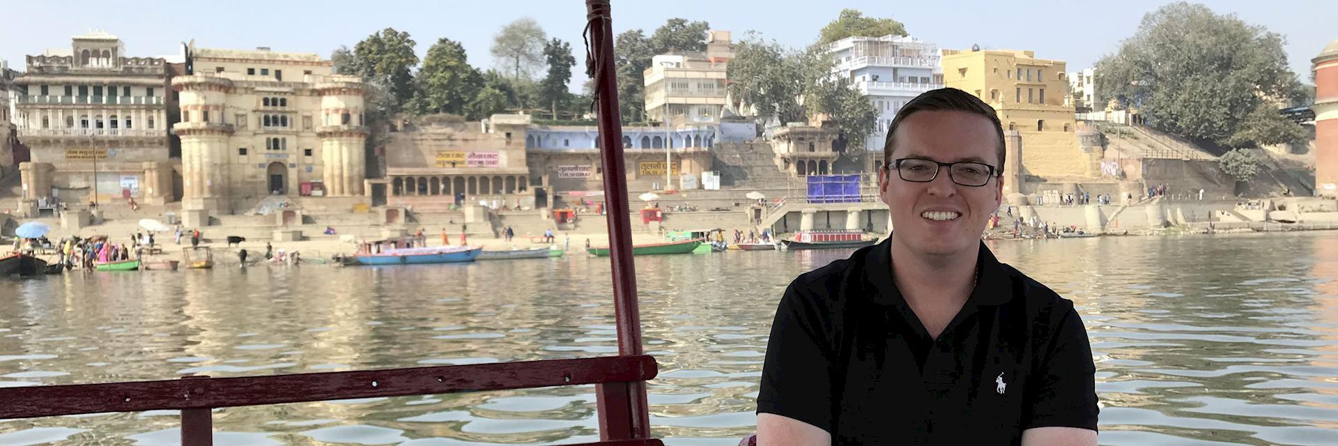 Jason on a Boat trip to the Ghats, Varanasi