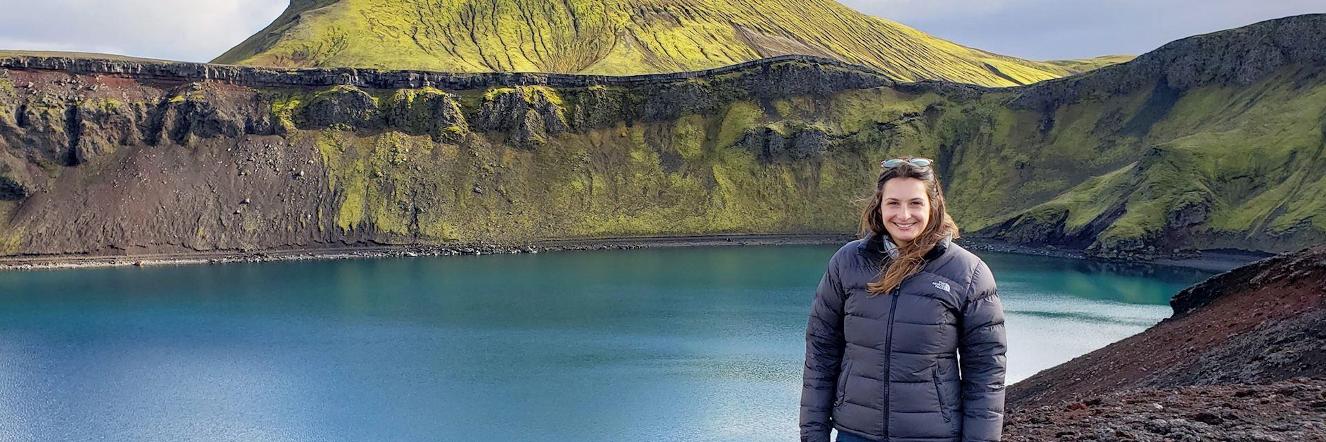 Katy at a crater lake in Landmannalaugar