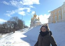 Katy outside Peterhof, the summer home of Peter the Great, St Petersburg, Russia