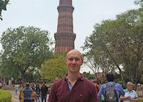 Niall exploring the Qutub Minar in New Delhi, India