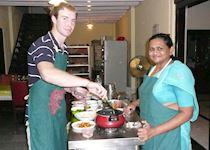 Niall cooking at the Ayesha Manzil Homestay, Kerala, India