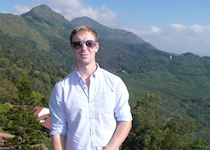 Niall visiting the Windermere Estate, Munnar, India