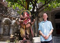 Nick with Ganesha at a temple in Pokhara, Nepal