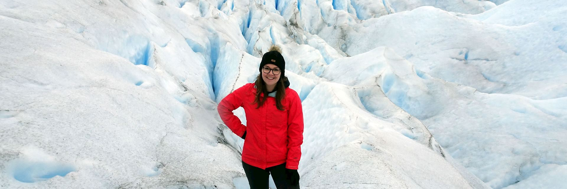 Alexandra on Huemul Glacier, El Chalten, Argentina