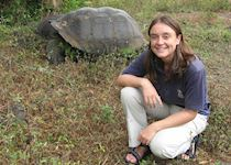 Anna with a Giant Tortoise, The Galapagos Islands