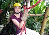 Anna ziplining near Armenia in the coffee region of Colombia
