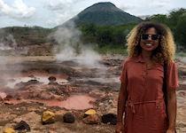 Chelsey exploring the San Jacinto mud pools, Nicaragua