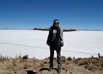 Chloe visiting the salt flats in Bolivia