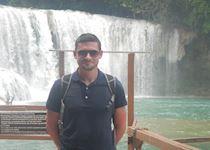 Chris at Agua Azul waterfalls in Chiapas, Mexico