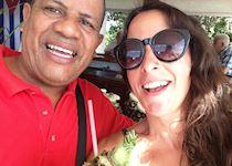 Ella enjoying a Pina Colada with her guide, Cuba