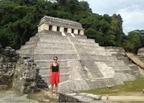 Ella visiting the Palenque ruins, Chiapas, Mexico