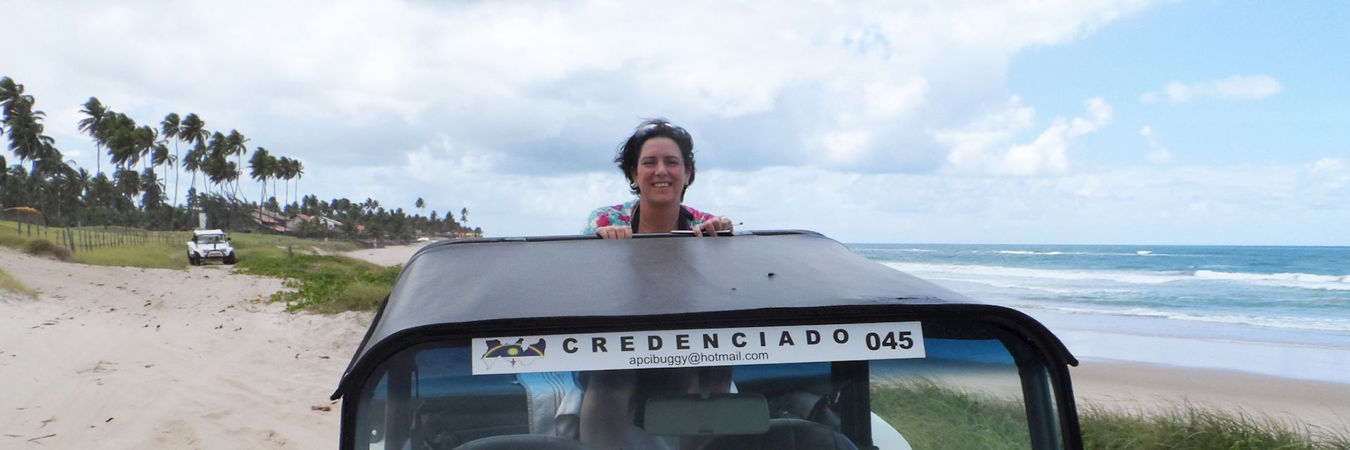 Fiona on a buggy tour in Porto de Galinha