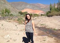 Georgia at the Seven Coloured Mountain in Purmamarca, Argentina