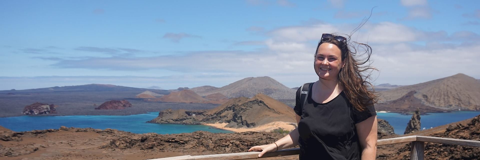 Laura at the Bartolome Island viewpoint, Galapagos Islands