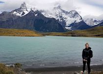 Laura in front of the Paine Massif, Chile