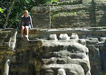 Leticia exploring the ruins at Lamanai, Belize