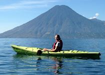 Leticia kayaking on Lake Atitlan, Guatemala
