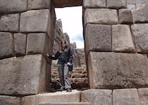 Lizzie in the Sacsayhuaman Inca ruins, Cuzco, Peru