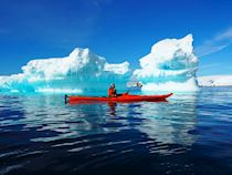 Nik sea kayaking in Antarctica