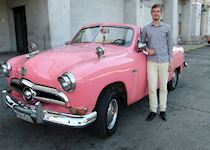 Tom admiring one of the classic American cars in Havana, Cuba