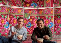 Adam having lunch in Kashgar, China