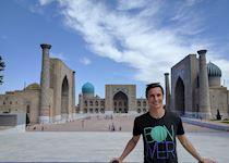 Adam outside Registan Square, Uzbekistan