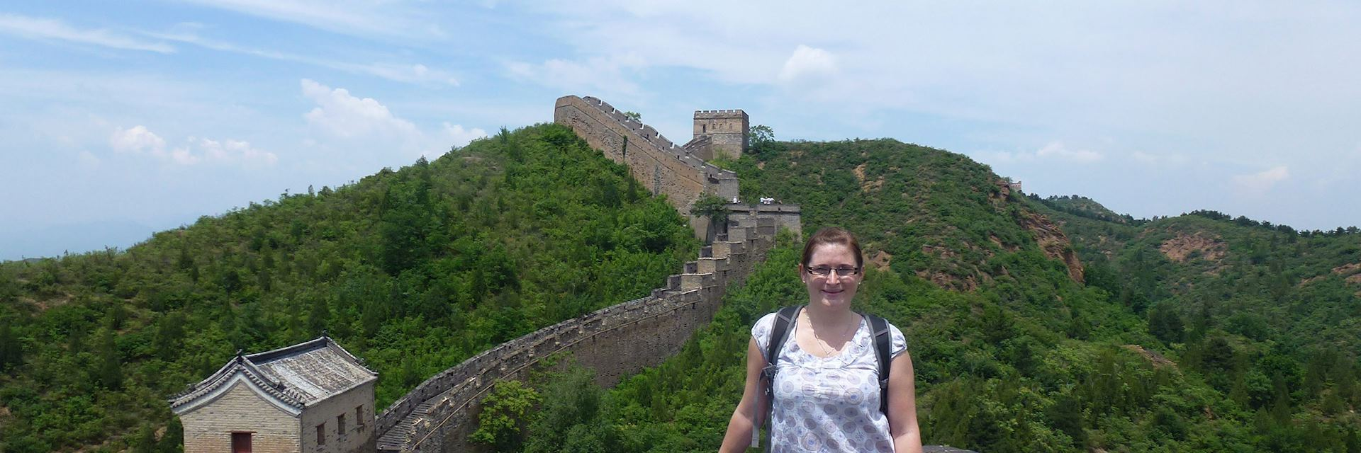Cheryl enjoying the view from the Great Wall, China