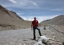 Chris travelling towards Mount Everest, Tibet