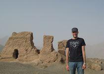 Chris visiting the Kuche Subashi ruins, China