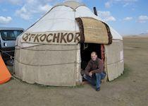Chris in a yurt at Lake Song Kol, Kyrgyzstan