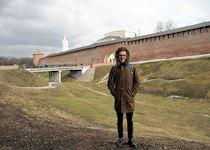 Nick outside the oldest kremlin in Russia in Novgorod