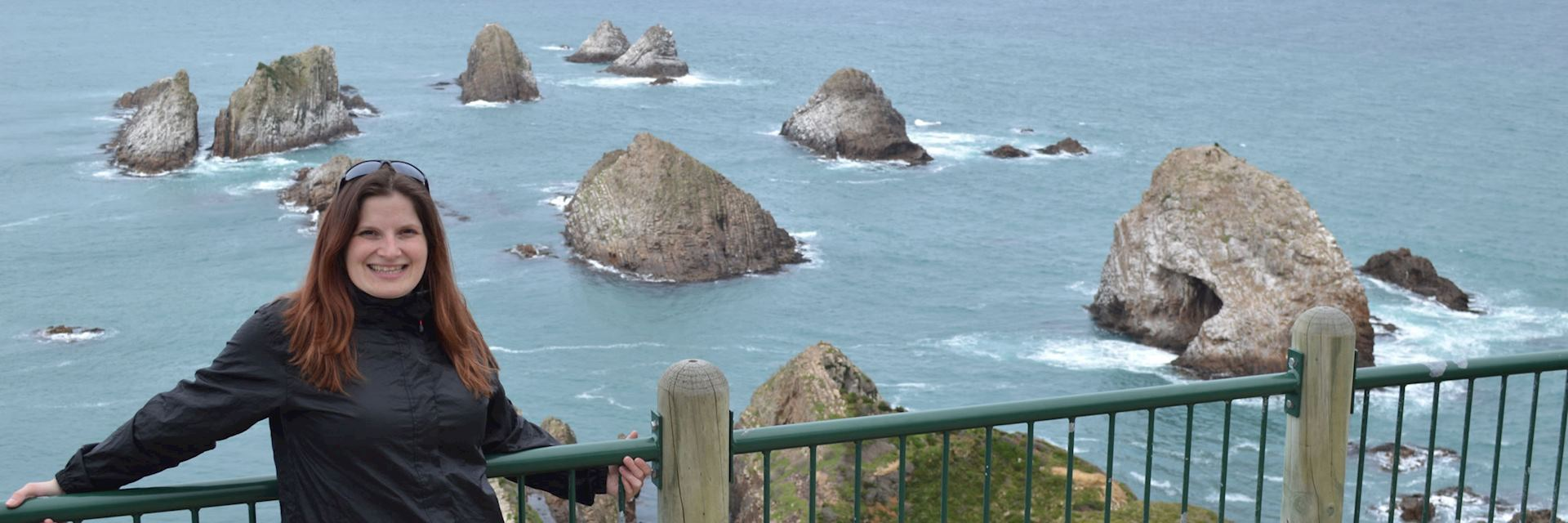 Barbara at Nugget Point on the Catlin Coast