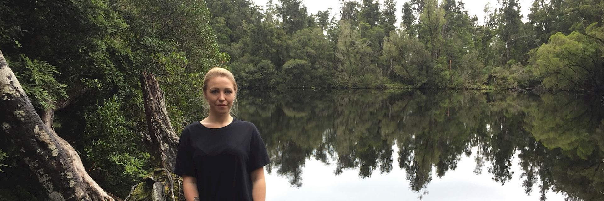 Catrin next to Lake Wombat, Franz Josef, New Zealand