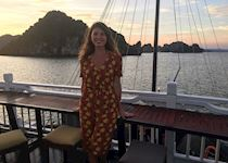 Alice on a cruise in Halong Bay, Vietnam