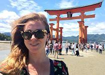 Eleanor at the Itsukushima Shrine, Miyajima. Japan