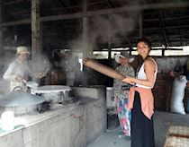 Georgina at a rice paper factory in Vietnam