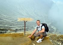 Glynn on the rim of the crater on Mount Ijen, Java, Indonesia