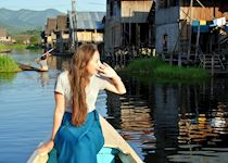 Hannah calling out to the locals in a fishing village, Inle Lake, Burma