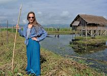 Hannah standing on a floating garden on Inle Lake, Burma