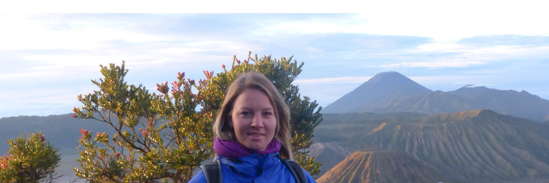 Harriet after sunrise at the Mount Bromo viewpoint, Java, Indonesia