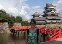 Hilary at Matsumoto Castle, Japan
