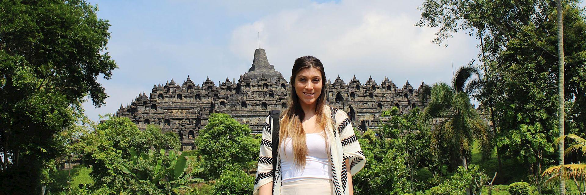 Kendall in Borobudur, Indonesia