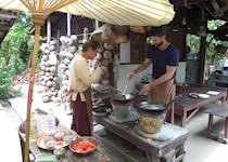 Mat cooking during his 'Thai for a Day' day in Chiang Mai, Thailand