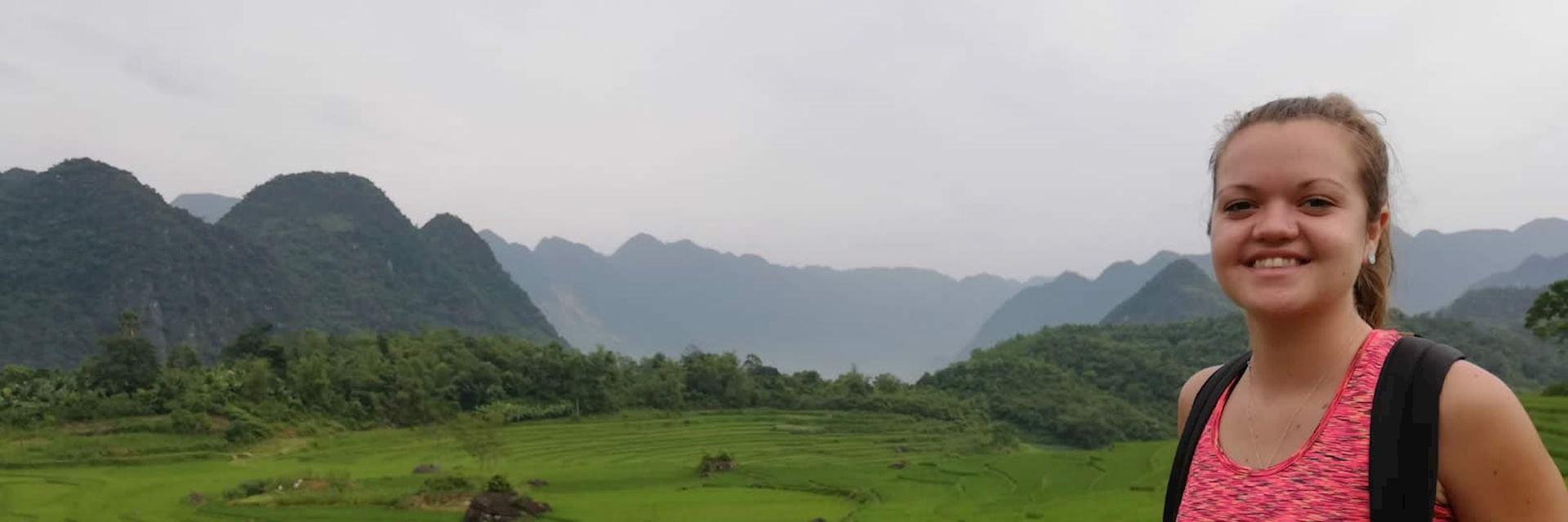 Megan trekking in Pù Luông Nature Reserve, northern Vietnam