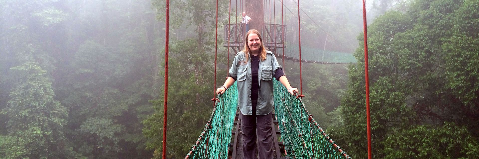 Sophie on a canopy walkway at Borneo Rainforest Lodge, Danum Valley, Borneo