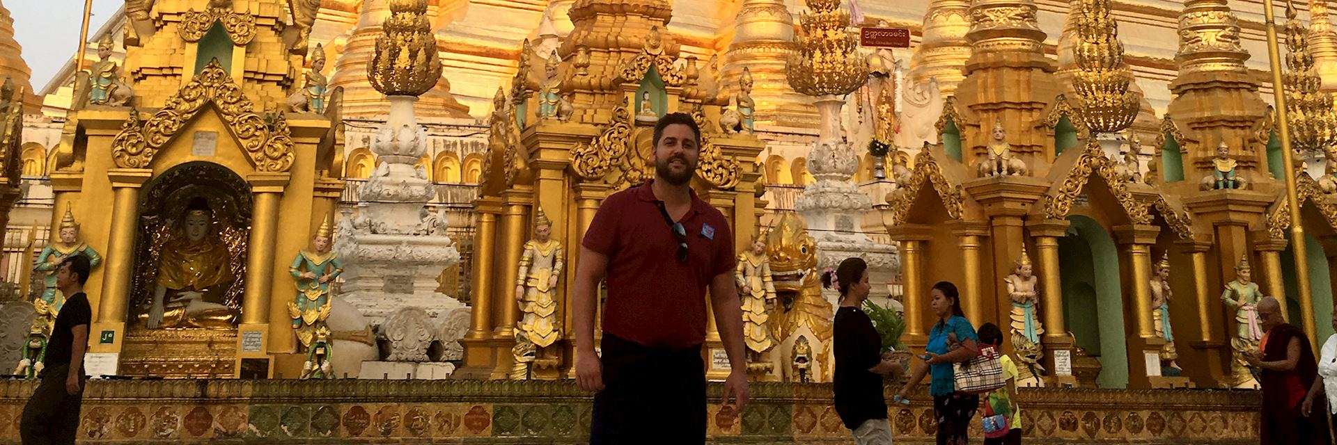 Tom visiting the Shwedegon Pagoda, Yangon, Myanmar