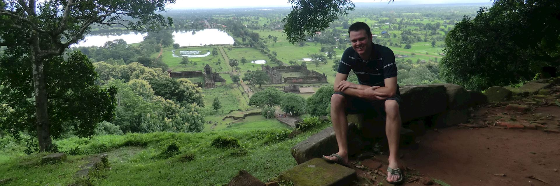 William and the panaromic view at Wat Phou in Southern Laos